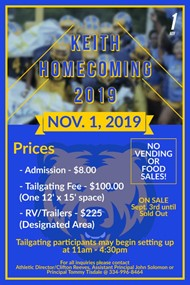 KEITH HOMECOMING 2019 TAILGATING SPACE AVAILABILITY STARTS SEPTEMBER 3RD